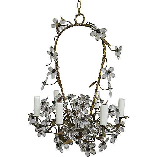 Crystal Flower Basket Chandelier