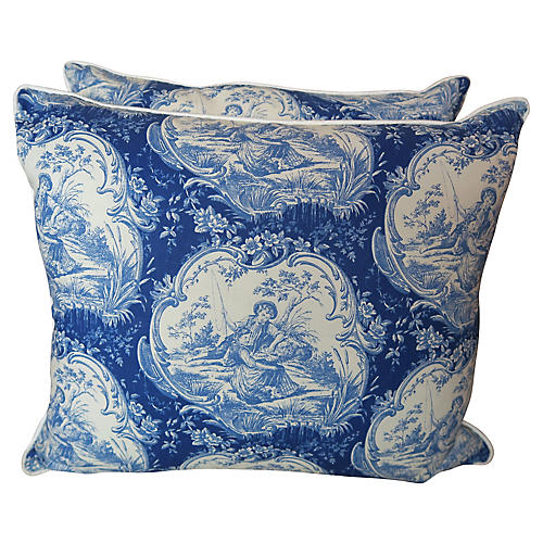 Blue & White Toile Pillows, Pair