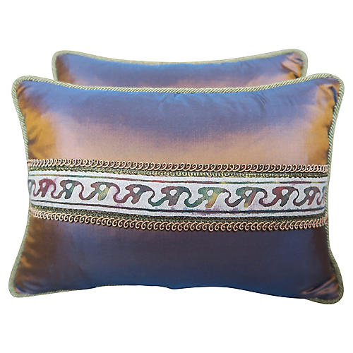 Silk Fortuny Pillows, Pair