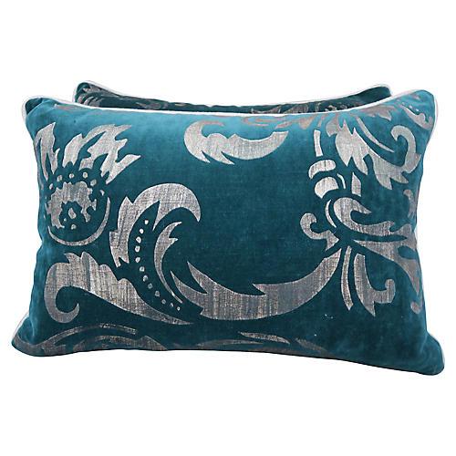 Stenciled Teal Velvet Pillows, Pair