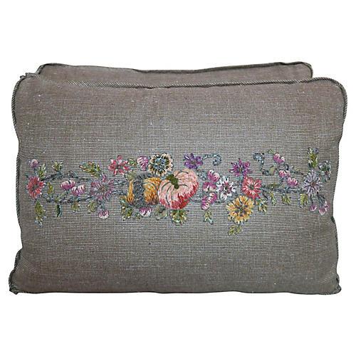 Antique Appliqued Pillows, Pair
