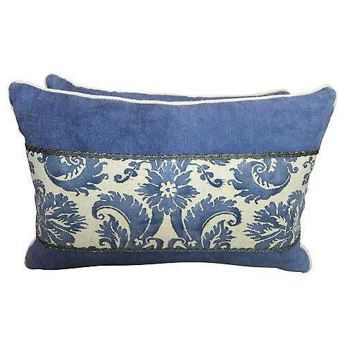 Blue & White Fortuny Pillows, Pair