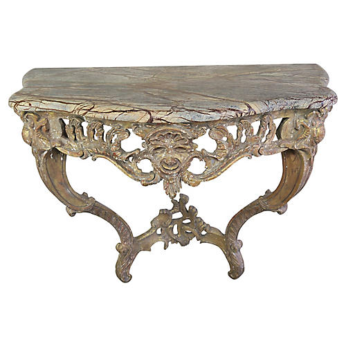 French Gilt Wood Marble Top Console