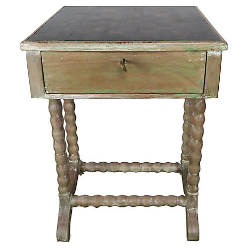 Checkboard Top Table w/ Drawer