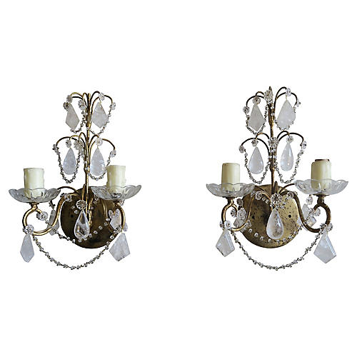 Rock Crystal Gilt Metal Sconces, Pair