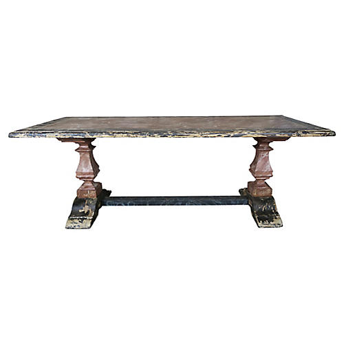 19th C. Italian Painted Trestle Table