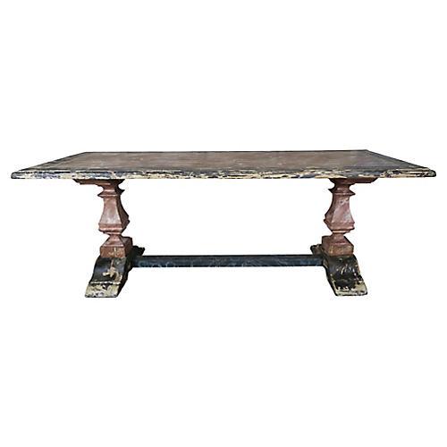 19th C. Italian Painted Trestle Table