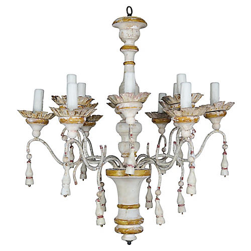 Italian Painted Wood & Iron Chandelier