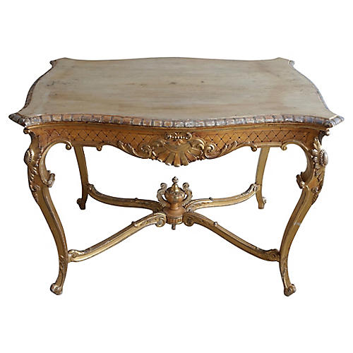 French Carved Louis XV Style Gilt Table