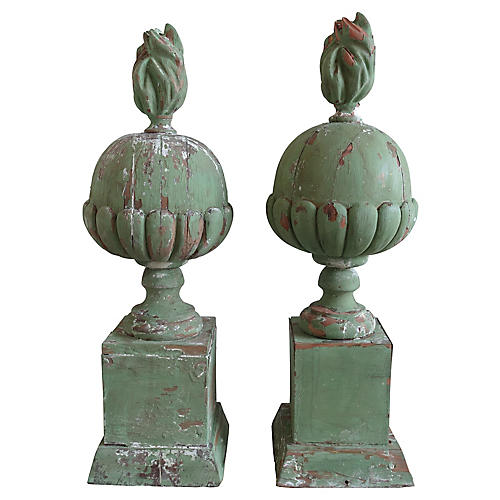 Pair of Italian Painted Finials