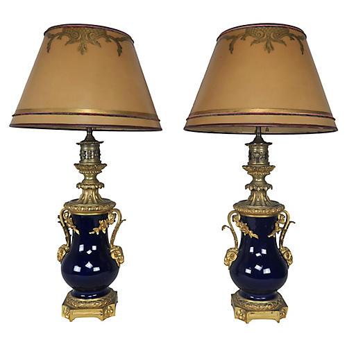 French Cobalt Blue Porcelain Lamps, Pair