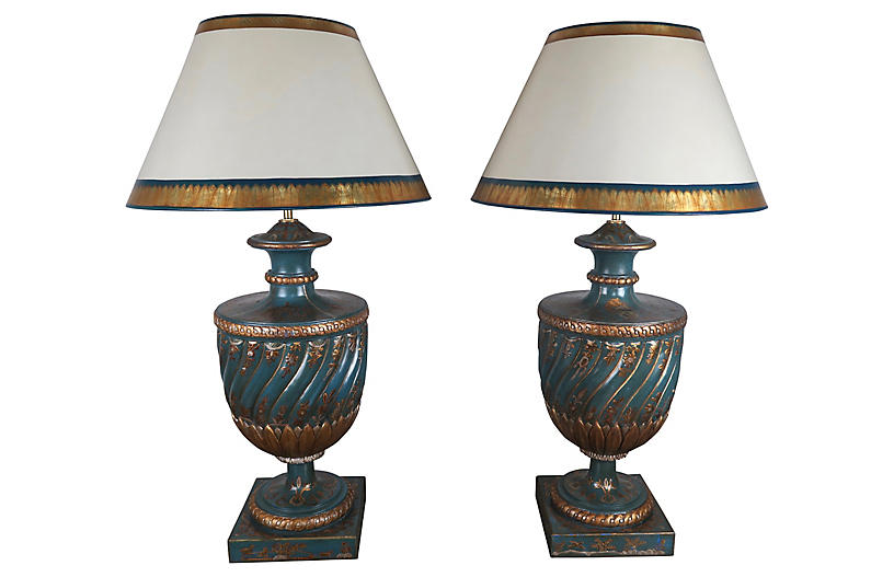 Chinoiserie Painted Lamps, Pair