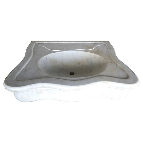 Serpentine Shaped Carrera Marble Sink