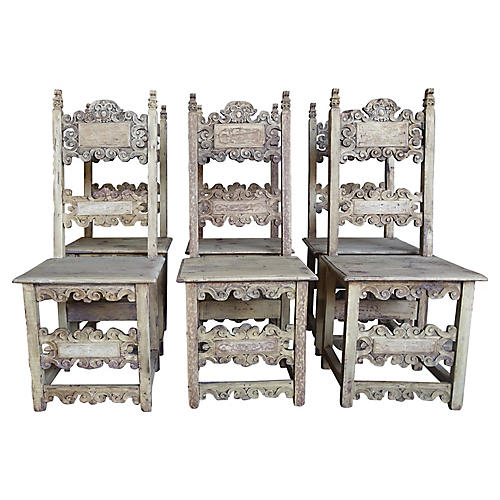 18th C. Italian Carved Chairs, S/6