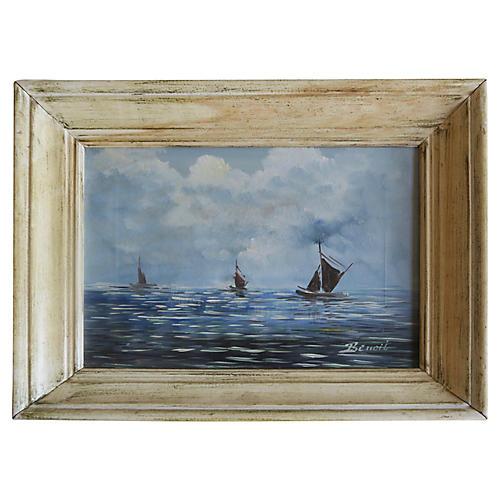 Vintage Seascape of Sailboats