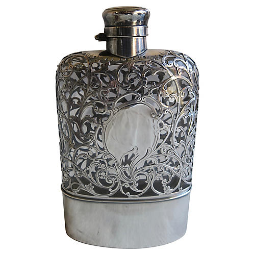 Sterling Overlay English Flask