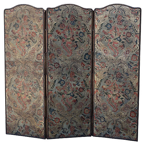 19th C. Spanish Leather Embossed Screen