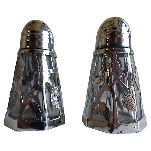 Sterling Overlay Salt & Pepper Shakers