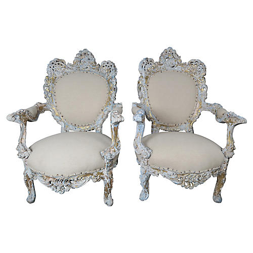 Pair of 19th C. French Painted Armchairs