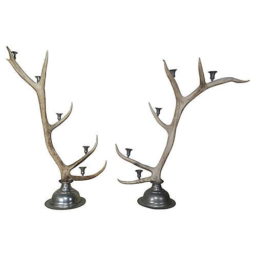 Pair of English Elk Candelabras