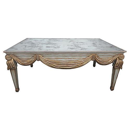 Italian Swag Coffee Table w/ Mirror Top