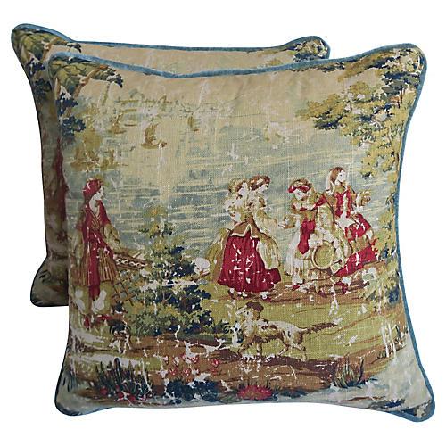 Figural Printed Linen Pillows, Pair