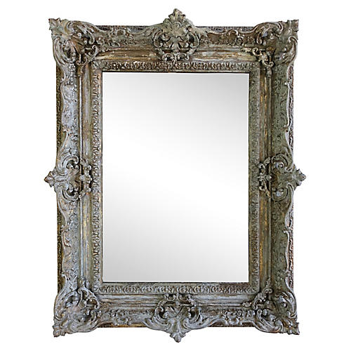 French Painted Antique MIrror