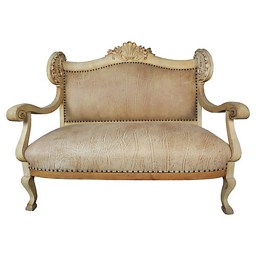 19th C. French Wingback Leather Sofa