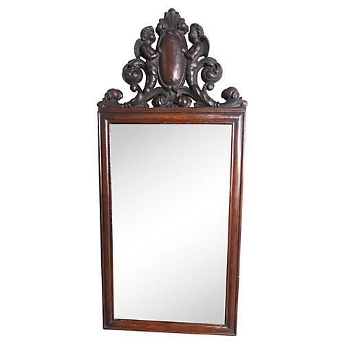 19th Century English Mirror w/ Angels