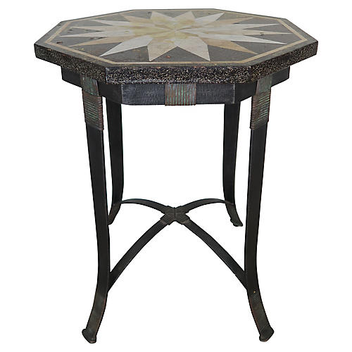 Octagonal Iron Table w/ Travertine Top