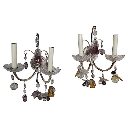 Pair of 2-Light Crystal Fruit Sconces