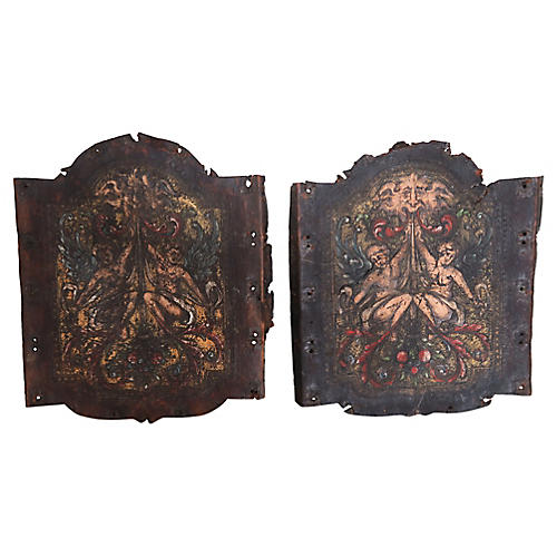 19th C. Spanish Painted Leather Panels