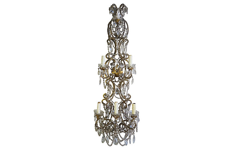 Italian 6-Light Crystal Beaded Sconce
