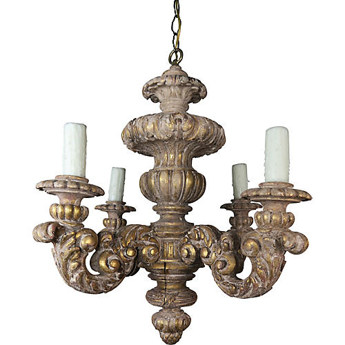 4-Light Carved Gilt Wood Chandelier