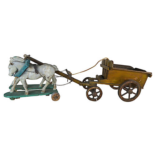 French Painted Horses Pulling Work Cart