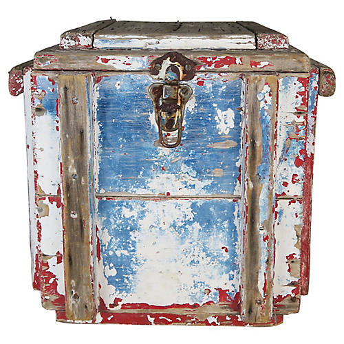 19th C. Primitive Painted Work Box
