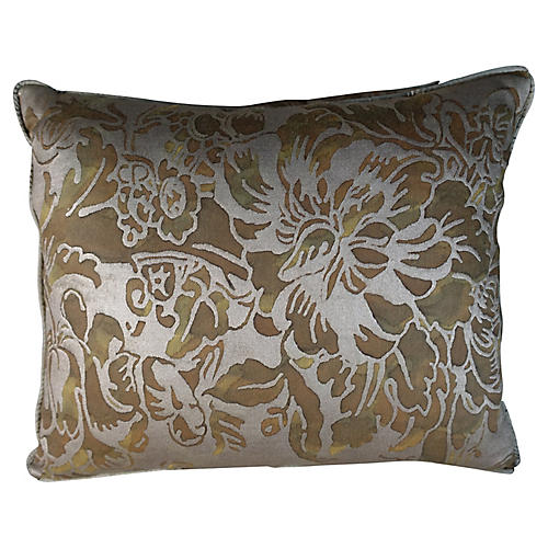Olive & Silvery Gold Fortuny Pillows, Pr