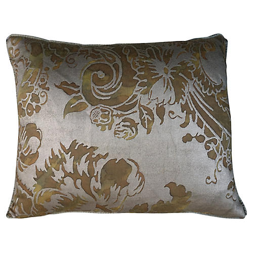 Green & Silvery Gold Fortuny Pillows, Pr