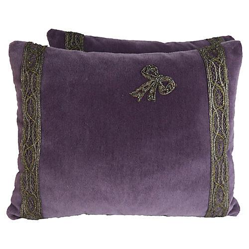 Beaded Bow Velvet Pillows, Pair