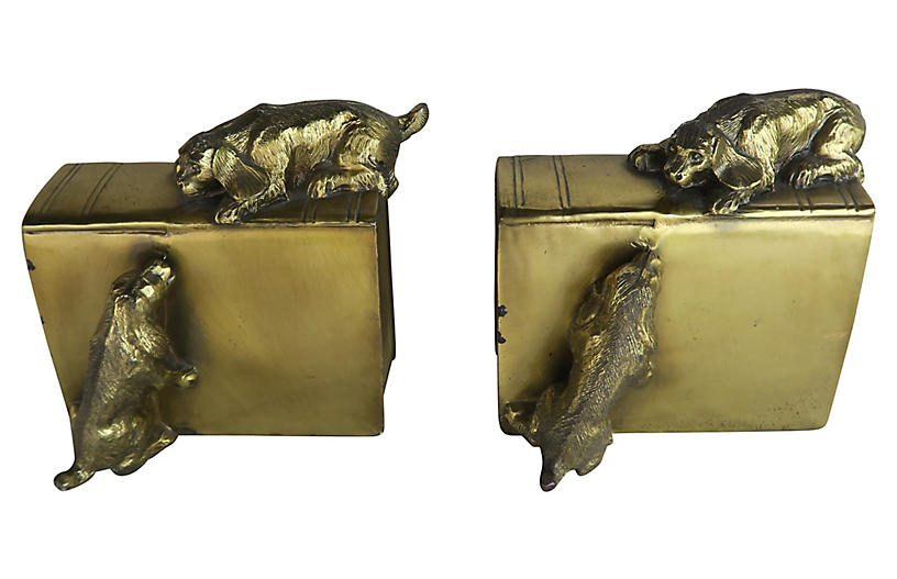 Brass Bookends with Playful Pups