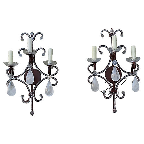 Wrought Iron Rock Crystal Sconces, Pair