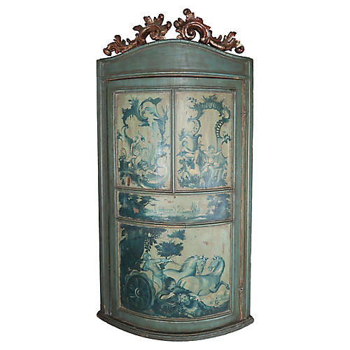 Painted & Parcel Gilt Corner Cabinet