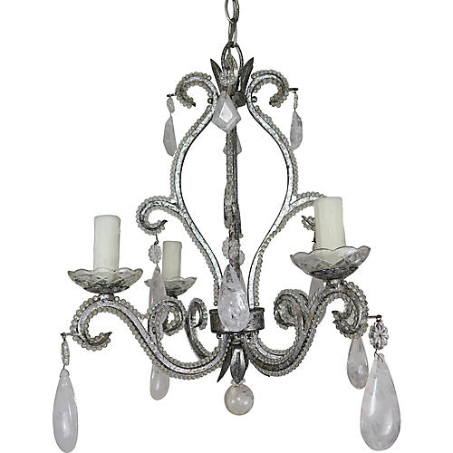 Rock Crystal Silver Metal Chandelier