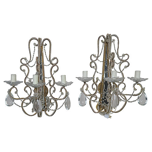 3-Light Crystal Beaded Sconces, Pair