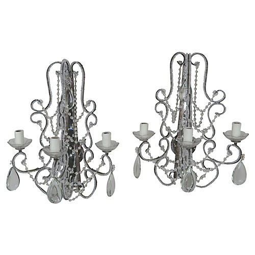 Crystal Beaded Mirrored Sconces, Pair