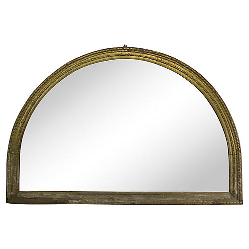 Early 19th C. Gilt Wood Arched Mirror