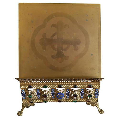 19th C. Italian Gilt Brass Book Stand