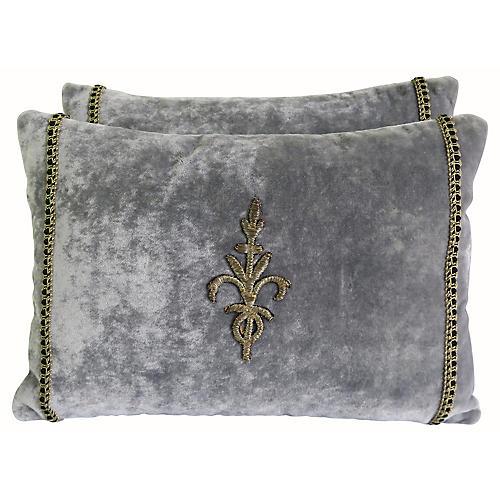 Metallic Appliqué Velvet Pillows, Pair