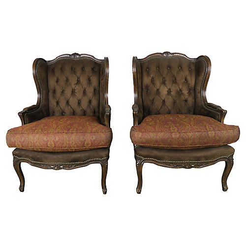 Pair of Louis XV Style Wingback Bergeres