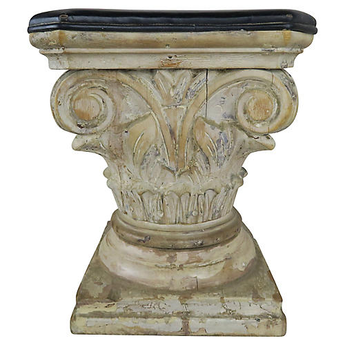 Carved Wood Capital Leather Stool C.1900